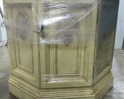 BEAUTIFUL LIGHT SOLID WOOD OCTAGON SIDE TABLE MARBLE TOP - LIKE NEW!