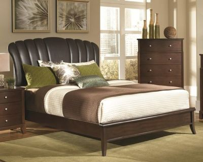 Addley California King Brown Upholstered Shell Headboard Bed
