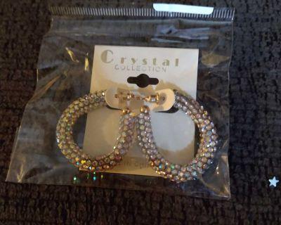 Diamond hoop crystal earrings