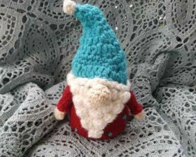 """Little Gnome - stand 7"""" tall with hat & popcorn bubble beard Handmade, amigurumi Year round Home decor"""