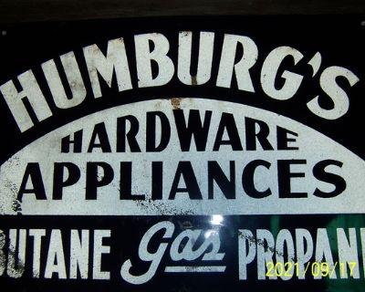 Old Advertising Sign - Humburg's (Bison, KS.) Hdwe / Gas