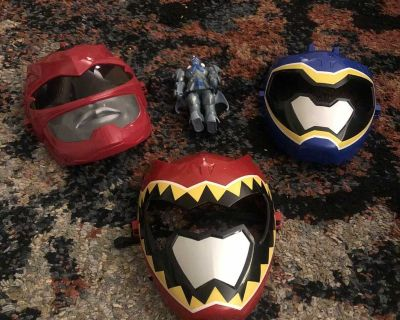 Assorted power rangers masks and figure