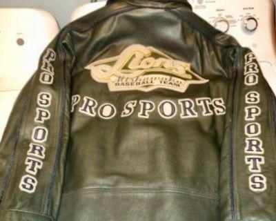 NEW! Leather Jacket - Mishawaka Lions Baseball Team (size Large)