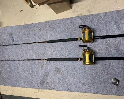Pair of Penn 50 Vsw Reels on Cape Cod Rods