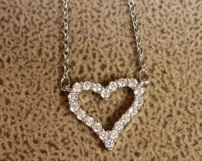 """$5.00 - NEW - Pretty Heart Necklace with Sparkly Crystals (3/4"""" wide X 5/8"""" long) - Necklace is 18"""" long"""