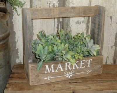 French Country Farmhouse Reclaimed Wood MARKET Caddie Box with Greenery