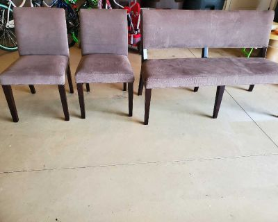 """Bench seat (53"""" 35""""tall) & 2 chairs Grey(19"""" wide)"""