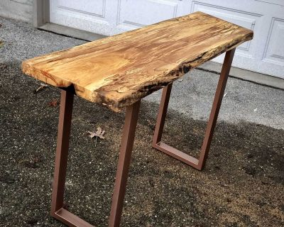 Live edge entry table sofa table console table solid maple slab