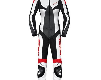 Spidi Womens Poison 2 Pc Leather Race Motorcycle Suit White / Red