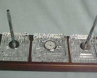 WATERFORD CRYSTAL EXECUTIVE DESK SET - REDUCED TO $75 - GREAT FATHER'S DAY GIFT!