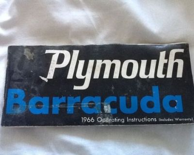 1966 Plymouth Barracuda Operating Instructions (includes Warranty Paper See Pic)