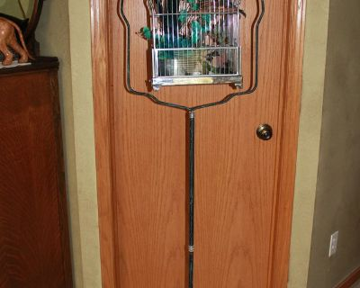 Vintage Black and Teal Bird Cage and Stand