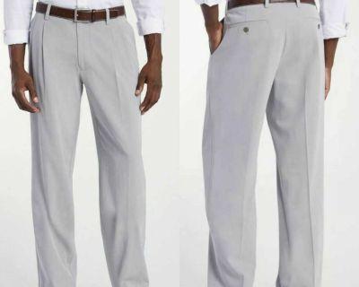 NWT Tommy Bahama Light Grey Silk Blend Dress Pants 54x32