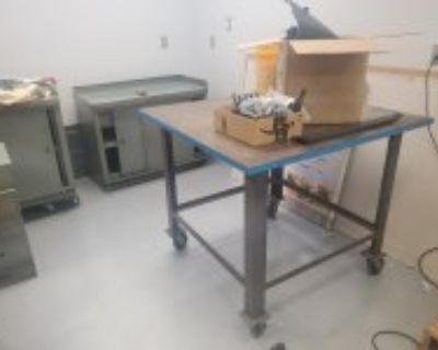 "6'x3' Hallowell Made in USA Wood Top Workbench & 43""x43""x1.25"" Steel Welding Table"