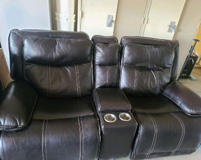 double electric recliners - dark brown leather