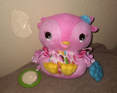 Pink plush owl baby Rattle with mirror taggy security toy