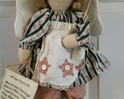 """Exc Condition Angel Decor. An Angels Job is Never Done. Can hang or sit. Many areas to use 18"""" T"""