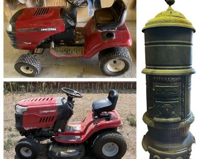Brighton CO, Barn Auction, Antique Late 1800's Wood Burning Stove, Riding Lawnmowers, Tools