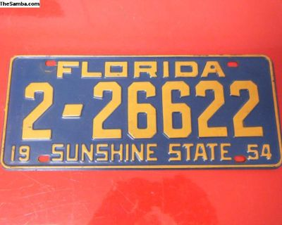 License Plate Florida 1954 #1