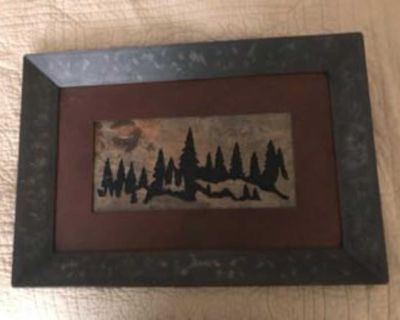 Hand crafted, carved slate and metal wall hanging.
