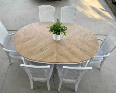 Dining Table, 6 Chairs, 2 Leaves, 4pc Table Cover