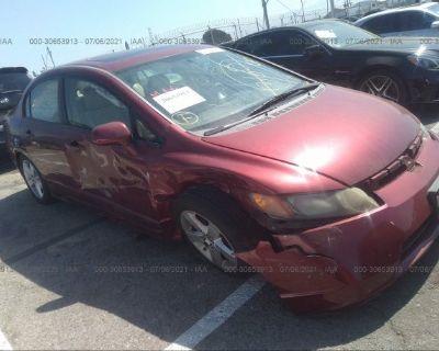 Salvage Red 2008 Honda Civic Sdn