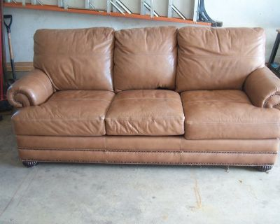Bassett Leather Couch-Lightly used