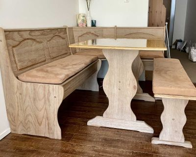 Kitchen nook + table, cushions, and bench storage