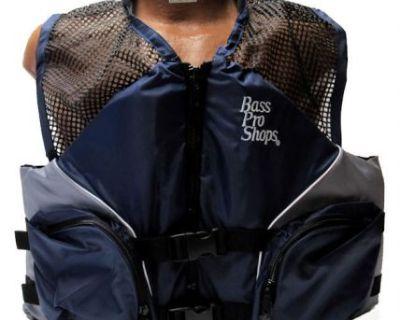 Bass Pro Shops Mesh Fishing Life Vest Jacket Pfd For Adults Blue 2xl
