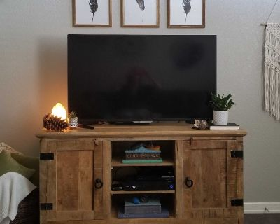 """TV Media Cabinet 58""""W reclained natural wood"""