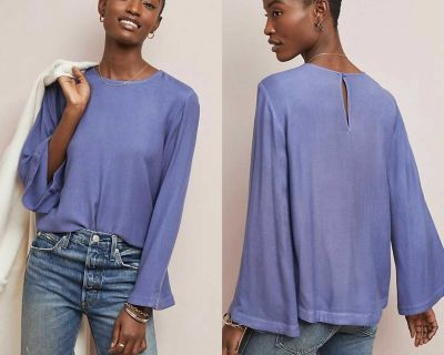 NWT $98 Anthropologie Wedgewood Cloth & Stone Crew Neck Bell Sleeved Top XS