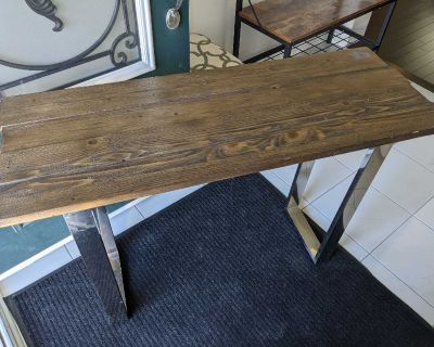Live wood table with chrome legs