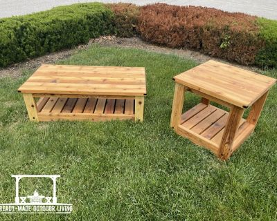 Knotty Collection Cedar Coffee and End Table (2 piece patio)