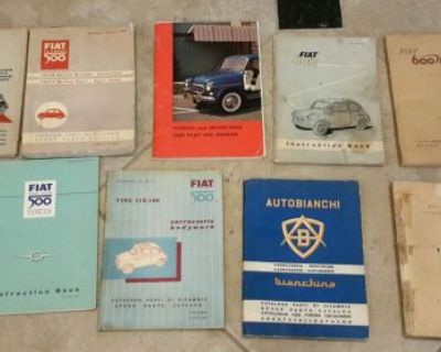Fiat 500 600 Autobianchi Lot Of Rare Owners Manuals Body Work And Parts Manuals