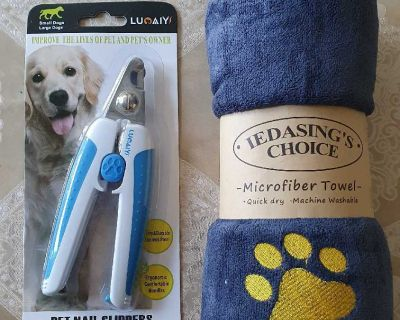 Pet Nail Clipper and Microfiber Drying Towel, Grey ( NOTE CROSSPOSTED)