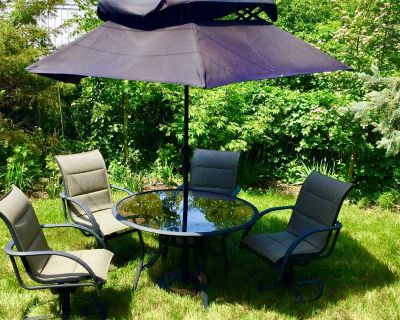 Complete Patio Set - 4 Chairs, Table, Umbrella and Stand