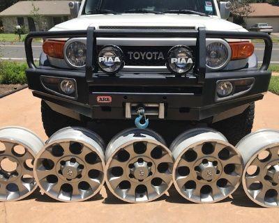 "2012 FJ Original FIVE 17"" Alloy wheels with 0 miles spare tire.... $600"