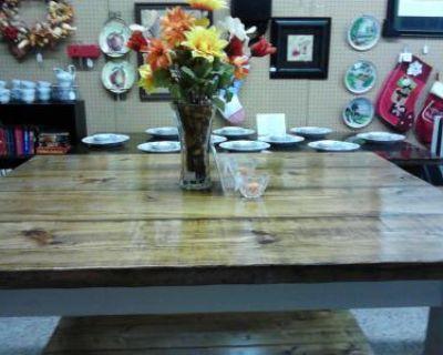 Solid Wood weathered Kitchen Island with shelf-Heavy
