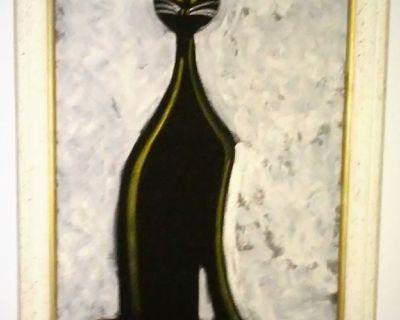 Framed Oil Painting On Velvet Of Black Cat
