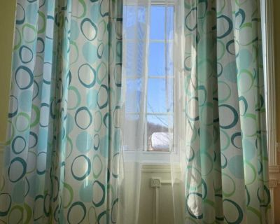 Curtain rods (set of 2) white sheer curtain (2 panel) and 4 blue curtain panels
