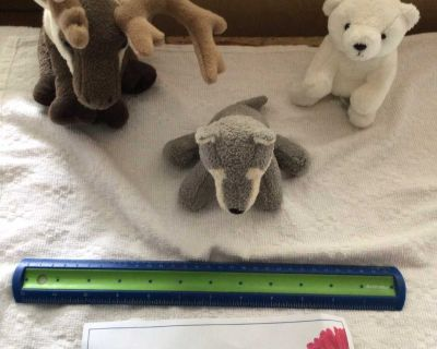 WWF plush toys a moose a dog and a bear five dollars each