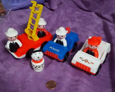 Vintage Fisher Price Little People Fireman With Fire Truck, Police Car and Dog