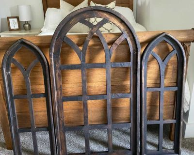 NEW Rustic Wood Cathedral Arch Farmhouse Windows Wall Decor, Set of 3