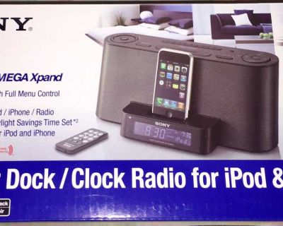 Sony Speaker Dock/Clock Radio for iPod and iPhone with Wireless Remote Control- Black