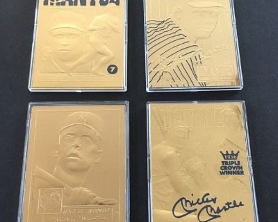 ** 1996 Bleachers 22kt -23kt Gold MICKEY MANTLE 4 Card Lot (or $12 each) with COA **