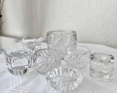 $4.00 for Set of 8 Vintage & Contemporary Candleholders -Lead Crystal, American Brilliant Crystal & EAPG Pressed Glass