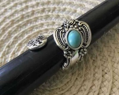 Beautiful unique turquoise color spoon wrap adjustable ring