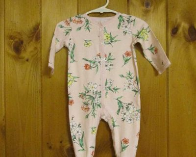 Carter's 6 mos. pink floral; snap, cotton sleeper