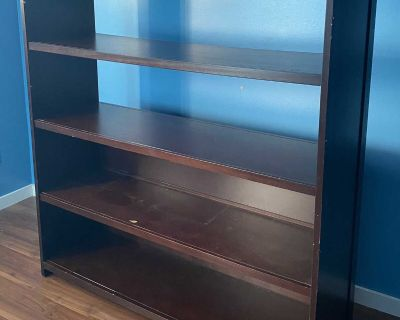 Loft bed with desk under and bookcase