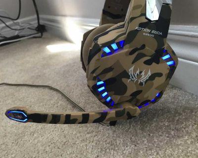 LED blue headset